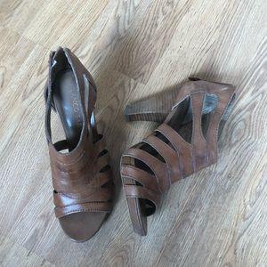 Franco sarto brown strappy heels size 7.5